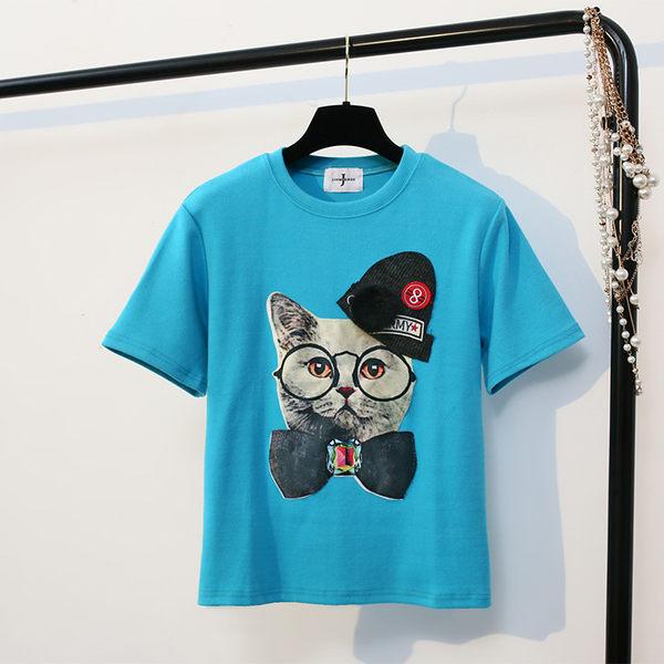 貓咪頭貼布短袖t恤