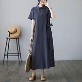 漂亮小媽咪 實拍 短袖 文藝 中大尺碼 洋裝 長裙【 D0251】純色 棉麻翻領 口袋 長洋裝