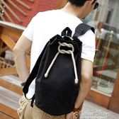 男士雙肩包包夏天運動健身大學生籃球書包帆布抽繩個性水桶後背包color shop