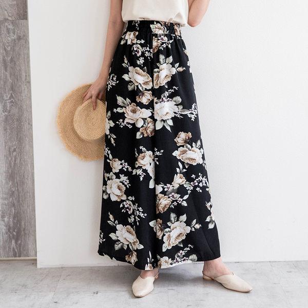 MIUSTAR 鬆緊圖騰側口袋滑面雪紡寬褲(共5色)【NG001334】預購