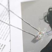 艷炟925純銀極光方糖項鍊 簡約氣質幻彩水晶吊墜日韓短款鎖骨鍊女