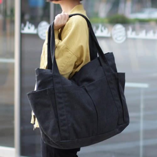 托特包 手提包  素色 多口袋 拉鍊 大方包 帆布包 環保購物袋-手提包/單肩包【AL261】 BOBI  09/20