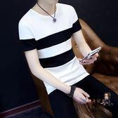 短袖T恤 男士短袖T恤V領純色夏季男裝半袖上衣服韓版潮流修身體恤打底衫潮 2色S-2XL