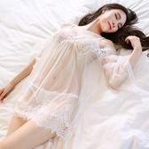 情趣睡衣蕾絲款 性感睡衣女春夏睫毛拼接吊帶睡裙套裝可外穿罩衫 全館免運