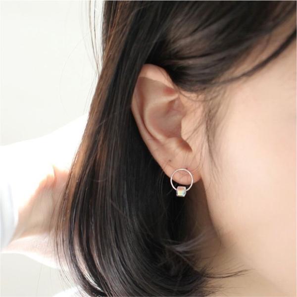 銀飾S925純銀水晶耳環耳釘女韓版韓劇同款簡約方糖耳飾防過敏