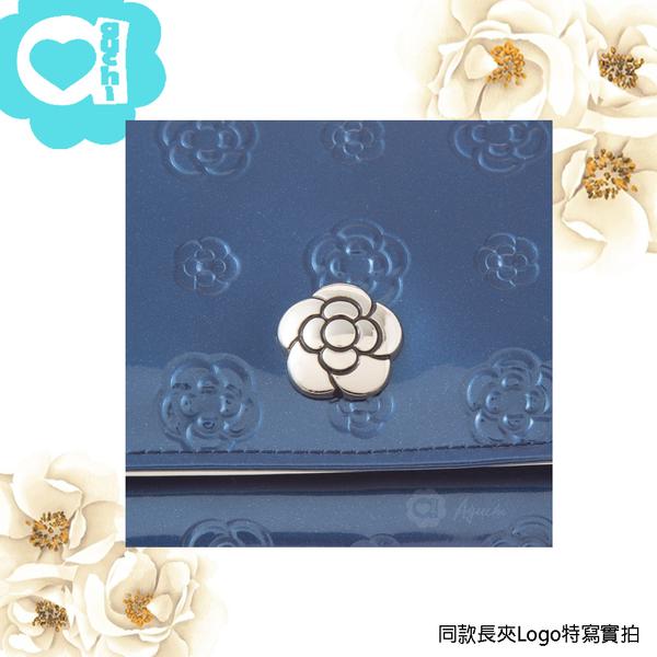 CLATHAS 日本小香奈兒山茶花亮面漆皮 經典 Logo 壓紋 多功能單扣多層長夾皮夾-酒紅