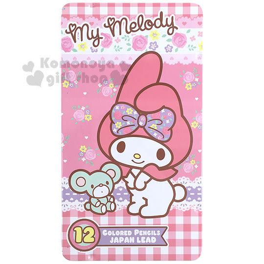〔小禮堂〕美樂蒂 12色彩色鉛筆組《粉.格紋.蕾絲.玫瑰.鐵盒》採用日本顏色芯蕊 4891595-93111