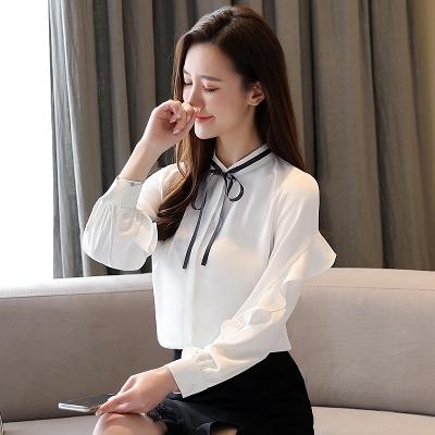 長袖襯衫韓版S-2XL雪紡衫女春裝新款氣質長袖上衣洋氣系帶荷葉邊輕熟御姐風襯衫T614依佳衣
