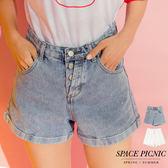 單寧 短褲 Space Picnic|現貨.四排釦褲管反摺高腰單寧短褲【C18063077】
