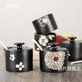 (交換禮物)糖罐子手繪調味罐陶瓷帶蓋勺日式餐具廚房糖罐味精罐鹽罐子