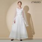 OMUSES 兩件式蕾絲刺繡伴娘婚紗訂製...
