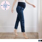 《MA0280》魔術360~高彈性拼接剪裁開衩孕婦直筒牛仔褲 OrangeBear