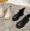 馬丁靴 中筒靴 煙筒馬丁靴女英倫風加絨加厚2021冬季新款網紅百搭防滑防水雪地靴