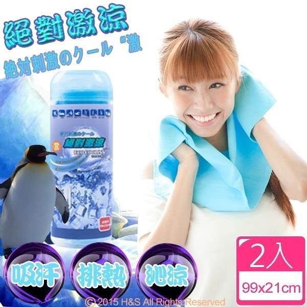 【南紡購物中心】ECO COOLING絕對激涼-運動專用涼感巾(藍)2入組