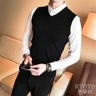 針織馬甲男士秋冬季潮流毛線衫背心坎肩無袖毛衣v領套頭保暖 【快速出貨】