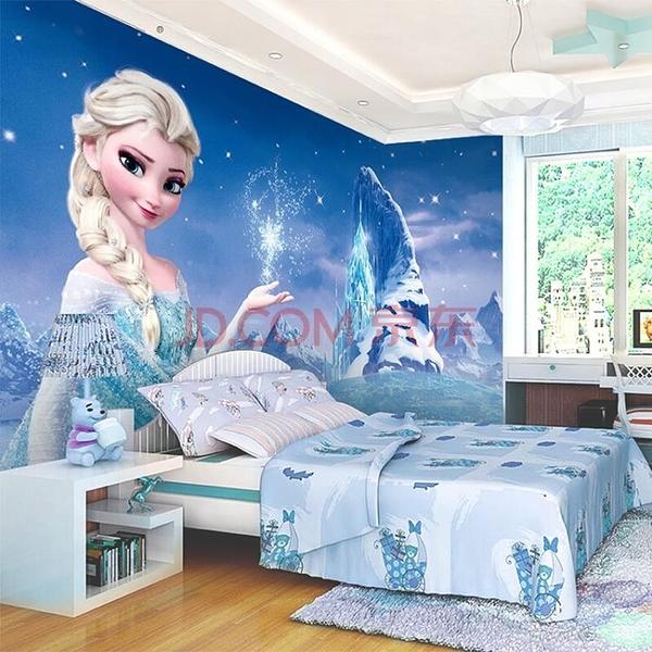 3d電視背景墻臥室主題壁畫兒童房紙卡通墻布冰雪奇緣艾莎墻紙LG-585934