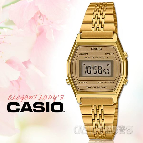 CASIO 手錶專賣店 LA690WGA-9 中性電子錶 不鏽鋼錶帶 金色錶面 防水 碼錶功能
