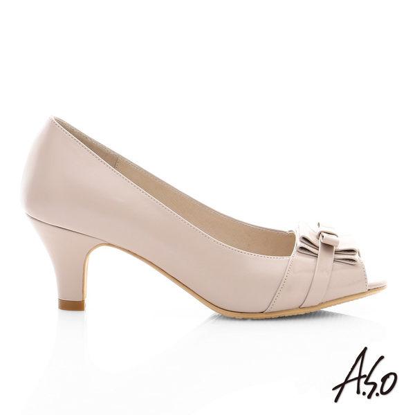 A.S.O 逸麗知性 真皮甜美蝴蝶結魚口跟鞋  米