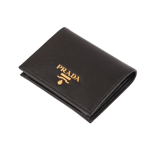 PRADA SAFFIANO 防刮皮革金屬字母釦式輕便短夾(黑色)