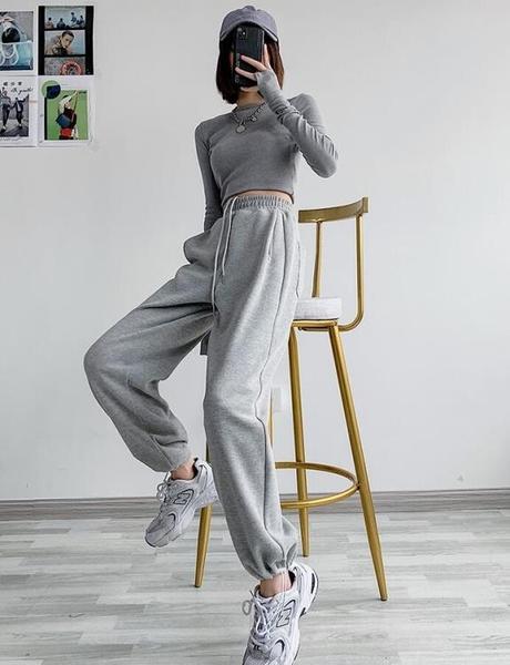 灰色運動褲女寬松束腳春秋季