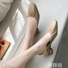 包頭涼鞋 新款包頭方頭粗跟涼鞋后絆帶仙女風簡約百搭舒適低跟女鞋子潮 韓菲兒