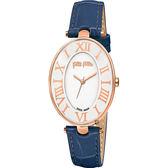 Folli Follie ROMANCE 羅馬橢圓女錶-藍/28mm WF14R025SPS-BL