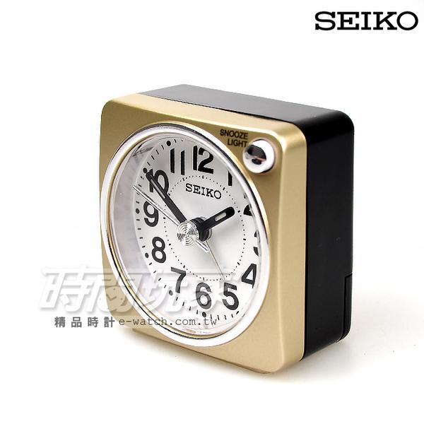 SEIKO精工 簡約雙色小巧鬧鐘 夜光照明 BEEP電子音鬧鈴 連續秒針/靜音秒針/夜光照明 金 QHE118G