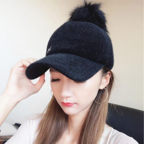 毛帽   正韓秋冬保暖毛球棒球帽子女新品純色百搭彎保暖黑色鴨舌帽子
