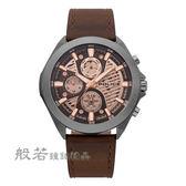 POLICE時光迴紋時尚三眼腕錶-棕X灰