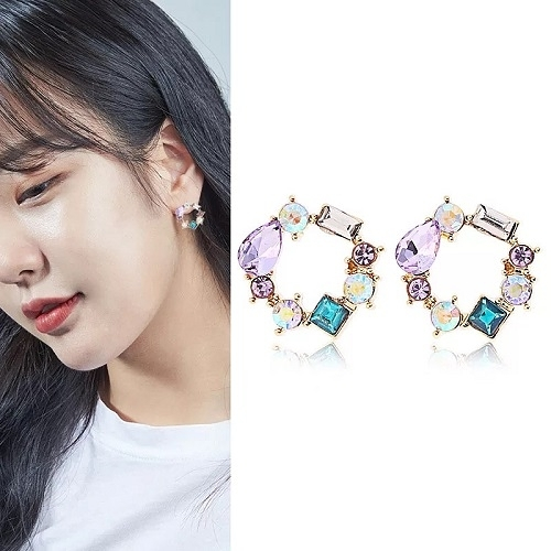 【NiNi Me】夾式耳環 925銀針氣質甜美水鑽彩色花環耳環 夾式耳環 E0130
