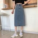【Charm Beauty】開叉 高腰牛仔 半身裙女 a字裙子 夏季 2021年 新款韓版 百搭顯瘦 包臀裙