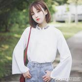 新款純色喇叭長袖T恤女秋寬鬆港味學生立領字母打底衫  潮流前線