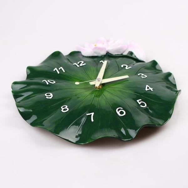 掛鐘 中式創意掛鐘客廳臥室家用掛件靜音壁掛錶現代中國風荷葉立體鐘錶