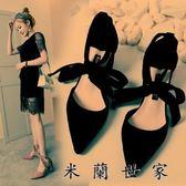 高跟鞋女尖頭黑色少女粗跟夏綁帶單鞋
