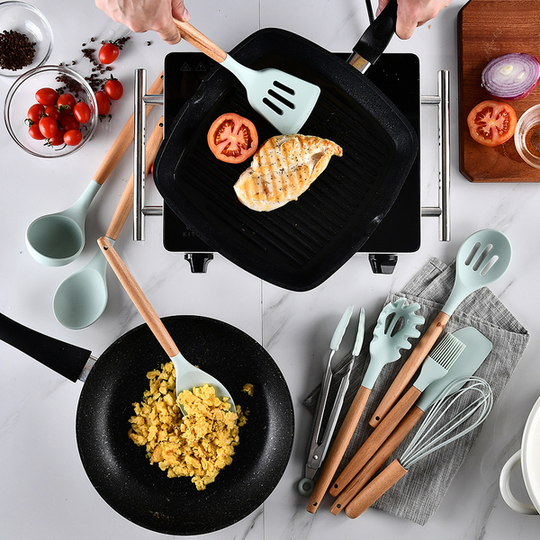 北歐木柄矽膠廚具13件組 US022 鍋鏟 不沾鍋專用鏟 湯勺 木柄鍋鏟 烹飪廚具 烹飪器具 打蛋器