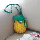 草包 女包夏天田園菠蘿度假單肩斜背草編包編織包沙灘包草包袋