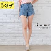 加大尺碼--個性收腰顯瘦前中線造型不規則抽鬚自然刷色牛仔短褲(藍XL-5L)-R237眼圈熊中大尺碼