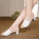 魚口鞋 大東真皮涼拖鞋女時尚外穿2021夏季新款魚嘴中跟粗跟一字拖女涼鞋 韓國時尚週 免運