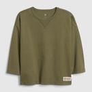 Gap男童棉質舒適圓領長袖T恤537772-軍綠色