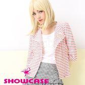 【SHOWCASE】帥氣細條紋雙拉鍊外套(紅)