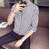 襯衫男七分袖襯衫男潮流五分袖休閒短袖寸衫韓版條紋百搭57半袖襯衣