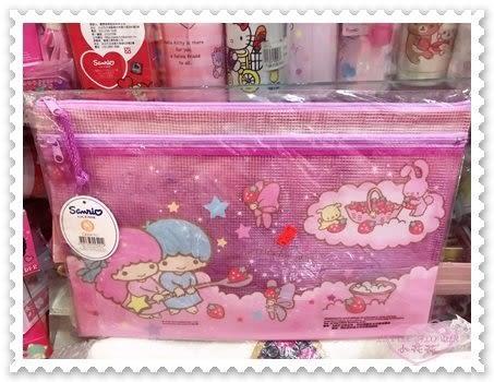 小花花日本精品♥Hello Kitty 雙子星 方便萬用網狀拉鍊袋資料袋 文件袋 小熊鋼琴(大)60018304