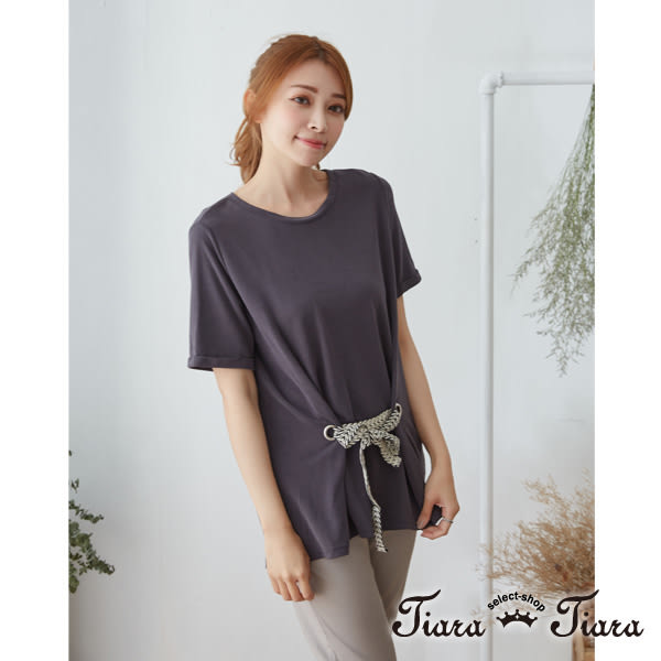 【Tiara Tiara】百貨同步 黑白撞色腰綁帶短袖上衣(綠/灰)