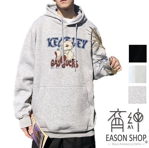 EASON SHOP(GW9367)韓版卡通小熊英文字母印花大口袋落肩寬版長袖棉連帽T恤裙女上衣服休閒打底內搭