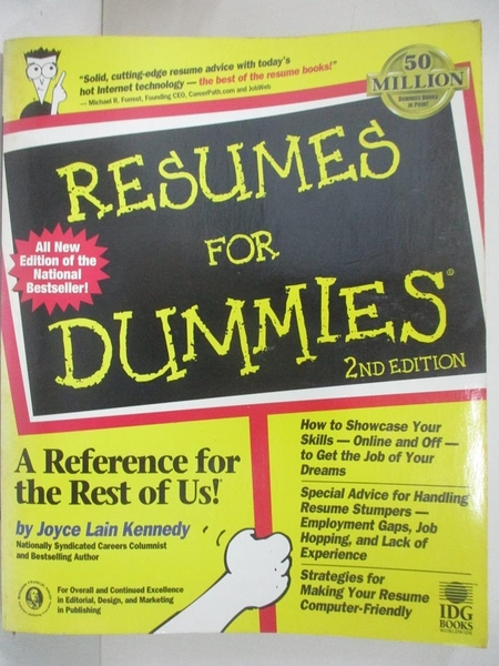 【書寶二手書T7/財經企管_D5J】Resumes For Dummies_Joyce Lain Kennedy