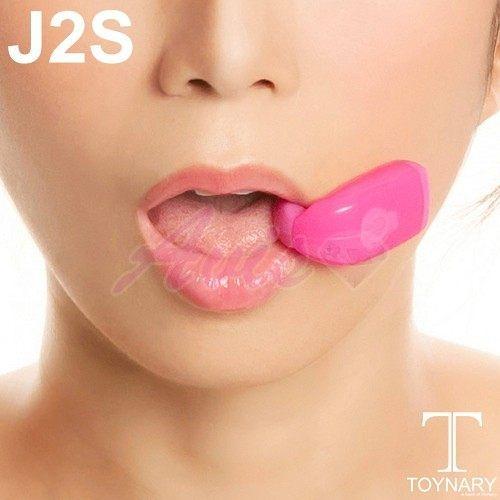 口交專用震動器 香港Toynary J2S Cerise 3X7 特樂爾 口交專用震動器-桃 +潤滑液1包