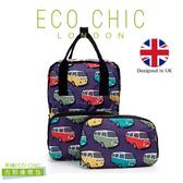 英國ECO CHIC時尚可折疊方形後背包-小巴紫