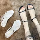 PAPORA休閒平底簡易涼鞋拖鞋KK1719 黑色/白色