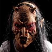 面具 萬圣節化妝舞會面具 整人鬼臉骷髏魔戒版紅眼灰發恐怖鬼面具