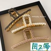 髪夾法式復古皮質編織大號氣質金屬髮抓髮夾【風之海】